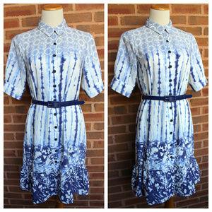 PETER SOM Shirt Dress Ruffle Design Nation sz 6